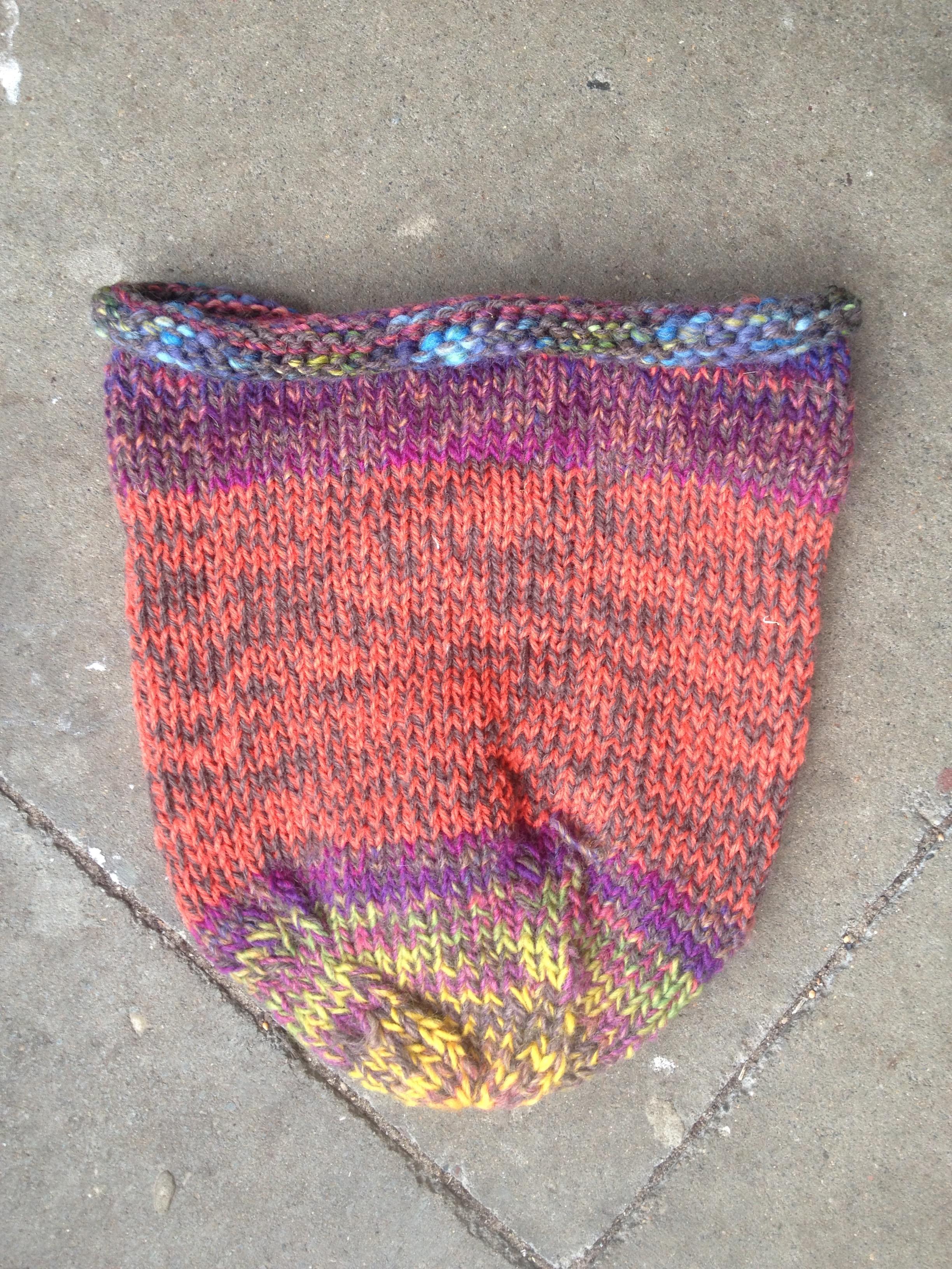 Allwetter Schurwolle Mütze Fair Öko Wollmütze Rainbow Multicolor Hippie Gipsy Vintage